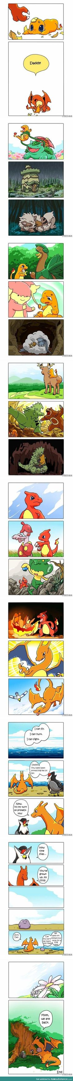 I've never played Pokemon, but this is adorable. A ditto fathered a charmander and used different Pokemon forms to raise it. Pokemon Mew, Memes Do Pokemon, Pokemon Comics, Charmander, Charizard, Pokemon Stuff, Pikachu Pokeball, Pokemon Pictures, Funny Pictures