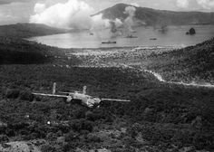 Raid on Rabaul. B-25 Mitchells of a 5th Air Force's 3rd Bombardment Group bombing Imperial Japanese Navy ships and transports in Simpson Harbour, Rabaul, New Britain, Nov 1943. Album with some-more photos from a same method inside. xpost from