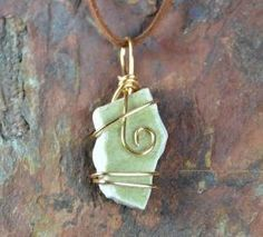 Green Ceramic Broken Porcelain Necklace, Pendant, Gold Wire Wrapped, Jewelry, Handmade Pottery, Upcycled, Recycled, | Caldwell Pottery by allie
