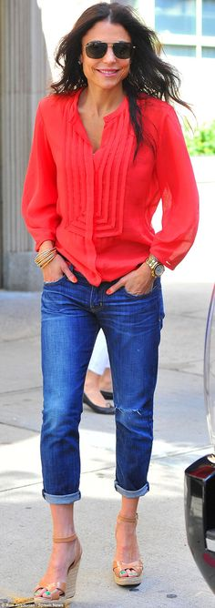 Bethenny Frankel steps out in bright red shirt while cradling daughter Bryn | Mail Online