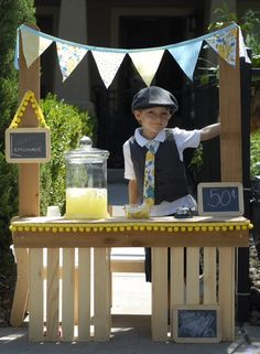 Great shot of Owen's DIY Alex's Lemonade stand! What a great summer activity for kids for a good cause! Hold your own Alex's Lemonade Stand this summer! #lemoande