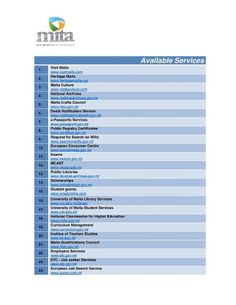 A full list of eGovernment Services Avaialble