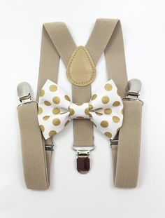 Tan Suspenders + white and gold polka dot bow tie boy boys wedding pictures birthday formal wedding ring bearer Polka Dot Bow Tie, Gold Polka Dots, Formal Wedding, Our Wedding, Wedding Rings, Baby Cocoon, Ring Bearer, Suspenders, Wedding Pictures