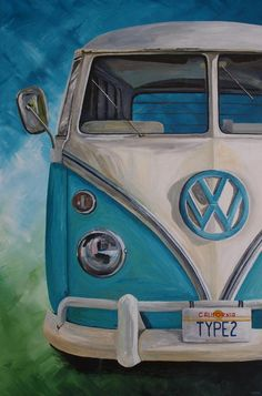 VW Split Screen Campervan acrylic painting by Louisa Hill Artist Acrylic Canvas, Canvas Art, Bus Art, Canvas Painting Tutorials, Automotive Art, Car Painting, Cool Paintings, Pictures To Paint, Limited Edition Prints