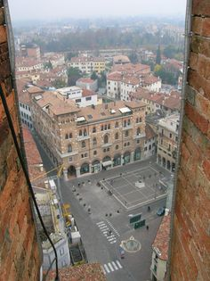 Treviso - piazza San Vito dalla torre civica  somewhere down there is the best espresso bar in Italy, according to my father.
