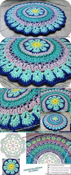 Captivating All About Crochet Ideas. Awe Inspiring All About Crochet Ideas. Crochet Mandala Pattern, Crochet Circles, Crochet Diagram, Crochet Squares, Crochet Doilies, Crochet Stitches, Crochet Patterns, Granny Squares, Doily Rug
