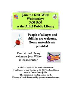 Learn to knit here at the library!  Free and open to the public.