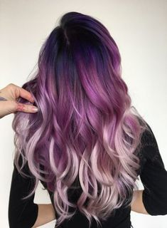 ombre hair Vivids color melt from black to purple pink white hair using pulp riot Hair-Nails Style Black Color Hair Melt OmbreHai pink pulp purple riot Vivids White Pink Ombre Hair, Best Ombre Hair, Brown Ombre Hair, Black To Purple Ombre, Purple Nails, Purple Style, Color Black, Brown Hair With Purple, Pastel Pink Hair