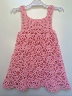 Light and airy cotton baby dress crocheted with love