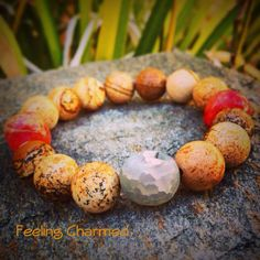 Picture Jasper Gemstone Beaded Bracelet Gemstone by FeelingCharmed, $20.00