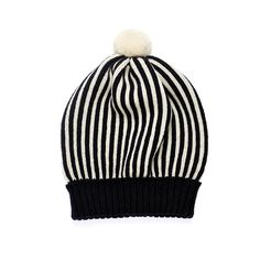 Back to Memphis | MARGOT & ME | Knit Hat Billy | Fair Isle Beanie - black and white stripes
