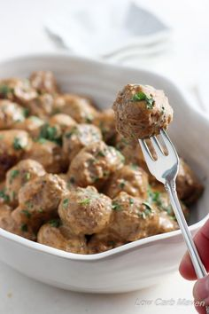 Low Carb Swedish Meatballs - great as an appetizer or a meal served over zoodles!   lowcarb, gluten-free, keto, thm   LowCarbMaven.com