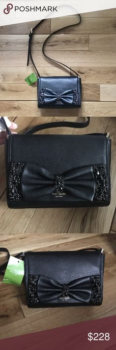 NWT Kate Spade black bow bag ✨Totally open to offers   Kate Spade black bag  Brand new, never used, absolute perfect condition   Bow detail with black sequins on front Snap closure Interior has 1 pocket + 1 zip closure Adjustable strap Signature Kate Spade logo in gold print on front Pebbled leather ensures no scratches Designed extremely sturdy to keep shape for a crisp attractive look  A truly beautiful feminine bag   *originally purchased for $329* kate spade Bags Crossbody Bags