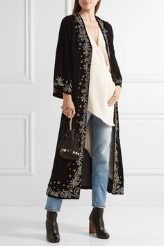 "ALICE + OLIVIA Stara embroidered velvet coat $750 ""Don't confine this essential fall update to eveningwear,"" says PORTER of the season's favorite fabric - velvet. Alice + Olivia's 'Stara' plush coat has exaggerated kaftan-style sleeves and is embroidered with gunmetal threads and beads. Elevate your look with jeans and a cream blouse.   Shown here with: Juan Carlos Obando Blouse, Acne Studios Jeans, Tomasini Bucket bag, Vince Boots, Chloé Rings."