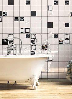 Vintage Black + White + Geometric Black 6-PC Decor Set 5x5 #collage Vintage Tile, Vintage Black, Bathtub Surround, Tile Projects, Porcelain Tile, Household Items, Wall Tiles, Modern, Decor