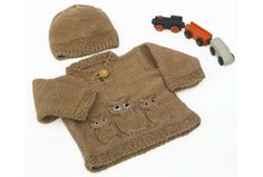 This fun knitted owl baby sweater and matching hat is sure to keep baby nice and warm. The pattern is for 4 different sizes from newborn to 18 months.