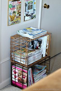 I thought of an easy diy magazine wall display! I have tons of magazines and don't like to throw them out so I created a nice wall display using clipboards. Preschool Classroom Centers, Magazine Wall, Make A Plan, Diy Wall, Rustic Style, Getting Organized, Home Crafts, Repurposed, Easy Diy