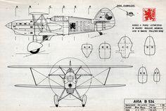 Avia B-534, plany modelarskie. (Źródło: Modelarz nr 6/1968). Vintage Airplanes, Cutaway, Aircraft, Wings, Classic, Military, Tecnologia, Aviation, Plane