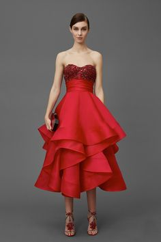 Marchesa | Pre-Fall 2016 | 02 Red strapless midi dress