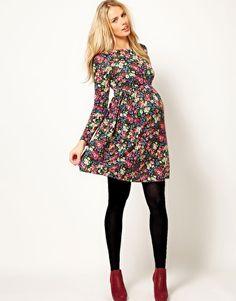 ASOS Maternity Skater Dress In Dark Floral