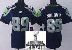 Women Nike Seattle Seahawks 89 Doug Baldwin Blue 2014 Super Bowl XLVIII NFL Jerseys