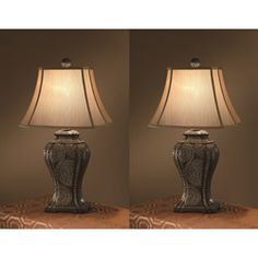 Kenroy Home Bennington 3-Piece Lamp Set with Natural-Slate Finish ...