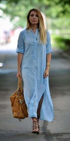 Maxi shirt dress. summer #streetstyle