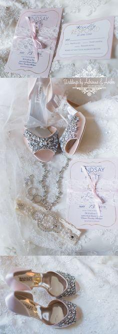 Royal Oak Wedding Photographers / Weddings by Adrienne & Amber #weddings #photography #weddingsbyaa #detroit #royaloak #weddinginvitation #weddingshoes #lace #details #jewelry #pink