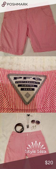 🔴⚠️SALE⚠️🔴   Columbia Sportswear Company Shorts Pink/White stripe PFG  (Performance Fishing Gear) shorts.  OMNI-SHADE Sun Protection.  Very lightweight, comfortable.  Smoke Free Home. Columbia Shorts