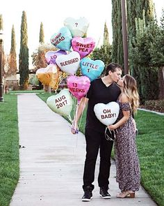 Sweetheart Candy Balloons Baby Announcement Idea