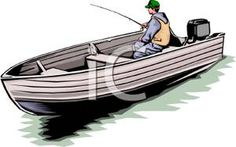 Man Fishing In a Motorboat - Royalty Free Clipart Picture