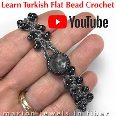 Marion Jewels in Fiber - News and Such: Turkish Flat Bead Crochet Bracelet Tutor. - Marion Jewels in Fiber – News and Such: Turkish Flat Bead Crochet Bracelet Tutor… Marion Jewels in Fiber – News and Such: Turkish Flat Bead Crochet Bracelet Tutorial Crochet Bracelet Tutorial, Crochet Beaded Bracelets, Bead Crochet Rope, Tutorial Crochet, Crochet Trim, Easy Crochet, Crochet Hooks, Crochet Earrings, Crochet Jewelry Patterns