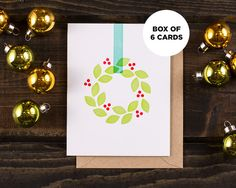 Holiday Wreath : Box of 6 Letterpress Cards
