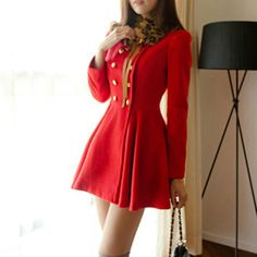 Price:$39.99 Material: Wool Color: Black / Red Double Breast Leopard Print Detachable Collar Coat