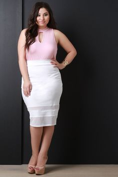 Sheer Mesh Panel Pencil Cut Midi Skirt – SheLuvsIt.com