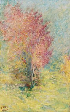 The Red Maple (undated) - by John Henry Twachtman (at auction, Sotheby's, April 2014)