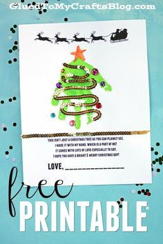 Free Handprint Holiday Poem Printable - Christmas Tree