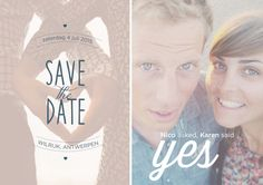 © Studio Kriek / Save the date announcement for Karen & Nico's wedding! Pictures are not taken by me, I only did the editing. #savethedate #wedding #accouncement #graphicdesign