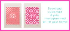 Printable Monogram | Download & Print Monograms for Free. I went a little crazy on this site today, printing binder covers and monograms to frame for the girls' rooms.
