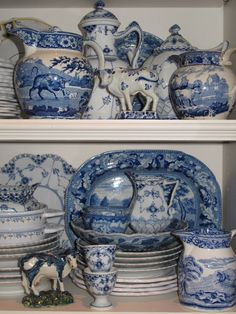 Blue and white porcelain; blue transferware A bit out of vogue right now, but I am sure it will stay around. Blue And White China, Blue China, Love Blue, Chinoiserie, Delft, Blue Kitchen Accessories, Blue Dishes, White Dishes, Le Grand Bleu