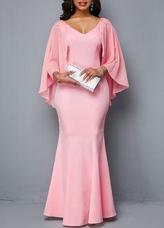 Pink Cape Sleeve V Neck Mermaid Dress African Prom Dresses, Latest African Fashion Dresses, African Dresses For Women, African Attire, Formal Evening Dresses, Elegant Dresses, Beautiful Dresses, Pink Mermaid Dress, Spandex Dress
