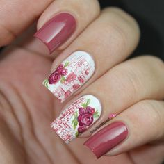 "Instagram media by nailsandtowel - Vintage roses - inspired by a mug I saw on google. Using ""rosa viejo"" ""blanco armiño"" by #voguefantastic , for the dried brush strokes and roses i used the same ""rosa viejo"", ""in the cable car-pool lane"" by #opiproducts for shades and white for the highlights , green for the leaves i love this vintage look ..."