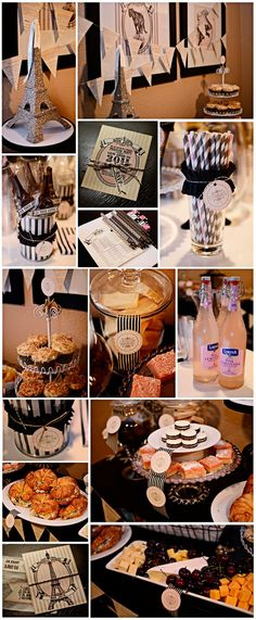 Paris themed birthday party - could be for Bridal shower, also.