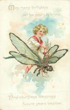 Vintage glitter Tuck postcard