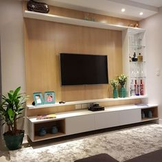 Amazing Modern TV Wall Decor Idea for Living Room Design Look Luxury - Istri Sholehah Tv Unit Decor, Tv Wall Decor, Wall Tv, Room Interior Design, Living Room Interior, Living Room Decor, Living Rooms, Hall Room Design, Tv Wall Ideas Living Room