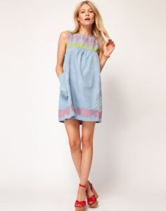 Enlarge ASOS Swing Dress with Floral Trim Detail