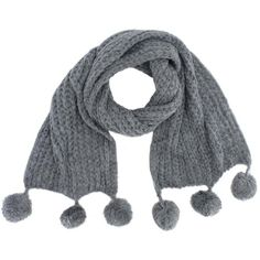 Grey Knit Ultra Soft Scarf With Pom-Poms ($15) ❤ liked on Polyvore featuring accessories, scarves, grey, heavy, long scarves, oversized knit scarves, long shawl, knit scarves and oversized scarves