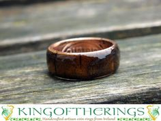 Man's wood Coin Ring lucky Irish penny coin ring