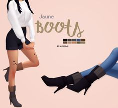 Jaune Boots | sims 4I really adore those boots from outdoor retreat but I badly needed simpler and solid color options, and s0 I made a few ᵔ-* • 10 swatches • disallowed for random • base game...