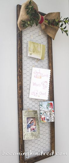 DIY Card Holder - do this with an old pano frame from work Christmas Card display Christmas Card Display, Christmas Card Holders, Noel Christmas, Rustic Christmas, Christmas Projects, Winter Christmas, All Things Christmas, Holiday Crafts, Christmas Decorations